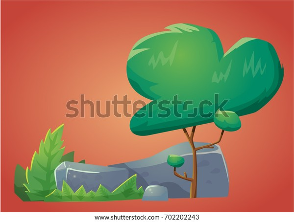 Vector cartoon style color tree with stone rocks and bushes isolated for game design background
