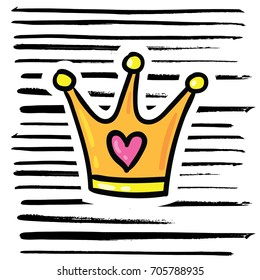 Vector cartoon style comic 80s 90s doodle outlined illustration of king or queen gold crown on hand drawn black ink brush strokes stripe background. Design t-shirt print decoration