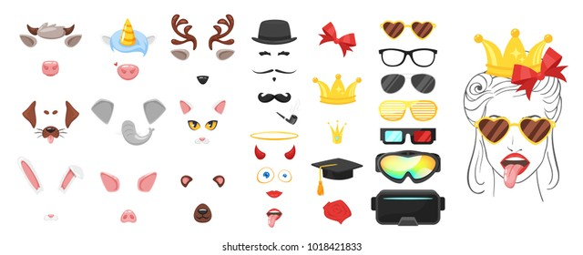 Vector cartoon style cute animal faces elements or carnival masks, glasses, ribbon and crowns. Decoration items for your selfie photo and video chat filter. Ears, noses and horns.