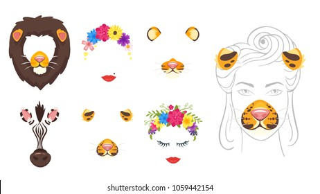 Vector cartoon style cute animal and woman faces set of elements or carnival masks, flower wreath, lips. Decoration items for your selfie photo and video chat filter. Ears, noses and fur.
