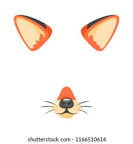 Vector cartoon style cute animal fox face element or carnival mask. Decoration item for your selfie photo and video chat filter. Ears, noses and whiskers. Isolated on white background.