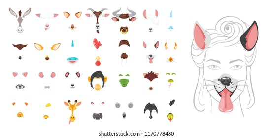 Vector cartoon style cute animal face element or carnival mask big set. Decoration item for your selfie photo and video chat filter. Ears, noses and horns. Isolated on white background.