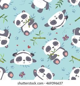 vector cartoon style cute panda seamless pattern