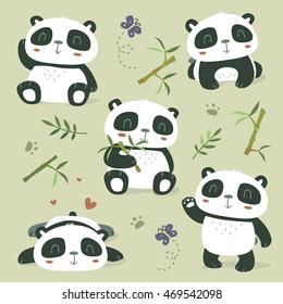 vector cartoon style cute panda set