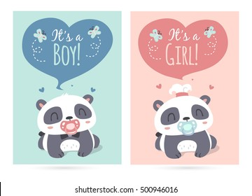 vector cartoon style cute panda it's a boy and girl illustration set