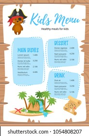 Vector cartoon style design for kids menu with cute character animal-bear in pirate costume, treasure map and island. Children menu meal template. Wooden background.