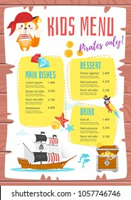 Vector cartoon style design for kids menu with cute character animal - fox in pirate costume, ship and treasure boat. Children menu meal template. Wooden background.