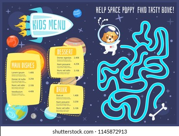 Vector cartoon style design for kids menu with cute character animal - space dog and planets of solar system. Children menu meal template. Cosmos background with stars. Children board game - labyrinth