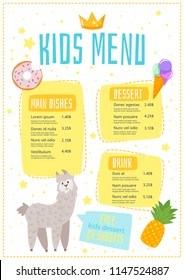 Vector cartoon style design for kids menu with cute character animal - alpaca and food icons. Children menu meal template.