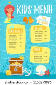 Vector cartoon style design for kids menu with cute character little mermaid with treasure chest and fishes. Children menu meal template. Underwater background.