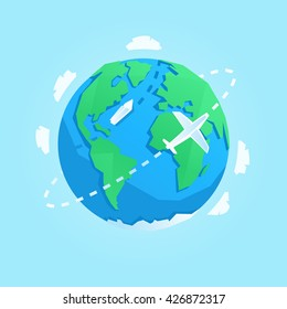 Vector cartoon style earth illustration.
