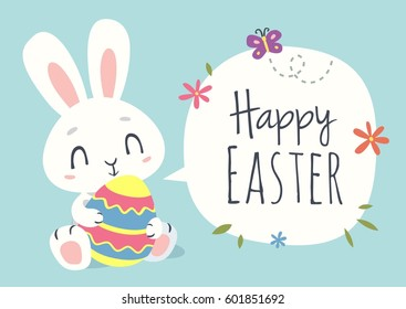 vector cartoon style easter bunny greeting card