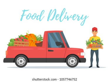 Vector cartoon style farmers fruit and vegetables red delivery car with the smiling deliverer holding fresh veggies. Isolated on white background.