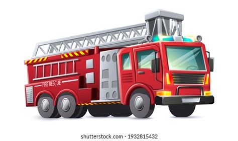 Vector cartoon style fire rescues red truck, isolated on white background.