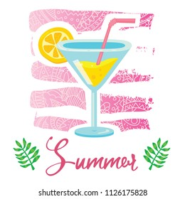 Vector cartoon style flyer t-shirt print card design with trendy summer tasty cocktail on elegant pink lace gradient strokes