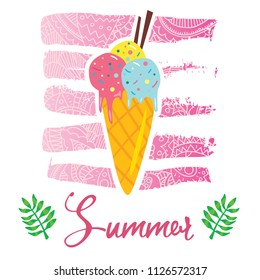 Vector cartoon style flyer t-shirt print card design with trendy summer tasty ice cream on elegant pink lace gradient strokes