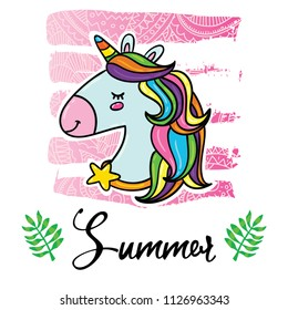 Vector cartoon style flyer t-shirt print card design with trendy summer magic unicorn on elegant pink lace gradient strokes