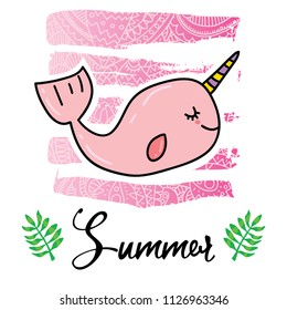 Vector cartoon style flyer t-shirt print card design with trendy summer unicorn pink narwhal toothed whale with horn on elegant pink lace gradient strokes