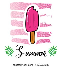 Vector cartoon style flyer t-shirt print card design with trendy summer tasty popsicle on elegant pink lace gradient strokes