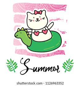 Vector cartoon style flyer t-shirt print card design with trendy summer cute cat in swimming pool ring on elegant pink lace gradient strokes