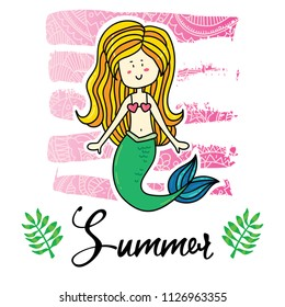 Vector cartoon style flyer t-shirt print card design with trendy summer magic mermaid girll on elegant pink lace gradient strokes