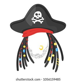 Vector cartoon style funny pirate face element or carnival mask. Decoration item for your selfie photo and video chat filter. Hair-dreadlocks and hat. Isolated on white background.