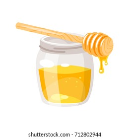 Vector cartoon style glass honey jar.  Isolated on white background.