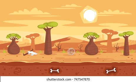 Vector cartoon style horizontal fantasy hot seamless landscape with baobab and desert dunes. Ready for parallax effect for games and animation.