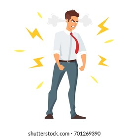 Vector cartoon style illustration of angry businessman. Isolated on white background.