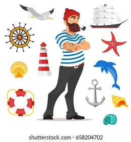 Vector cartoon style illustration of bearded sailor smoking pipe. Sea icons. Isolated on white background.