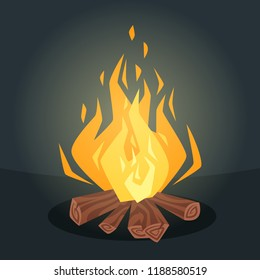 Vector cartoon style illustration of bonfire with logs. Fire flames icon for web. Isolated design on dark background.