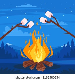 Vector cartoon style illustration of bonfire with logs. Fire flames design. Calm night mountain forest scenery.