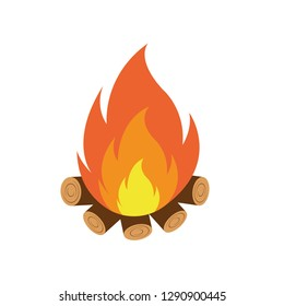 Vector cartoon style illustration of bonfire. Icon for web. Isolated on white background