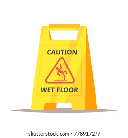 Vector cartoon style illustration of caution wet floor sign. Isolated on white background.