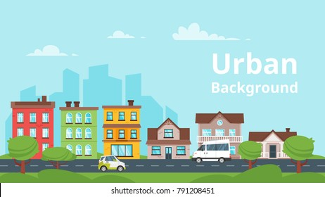 Vector  cartoon style illustration of city landscape. Urban skyline. Townhouse apartment exterior.