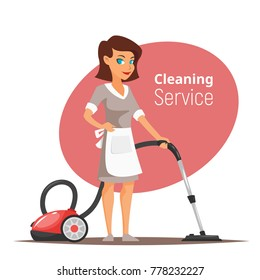 Vector cartoon style illustration of cleaning service woman character vacuuming the floor.