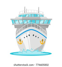 Vector cartoon style illustration of cruise ship - front view. Travel and tourism transport.