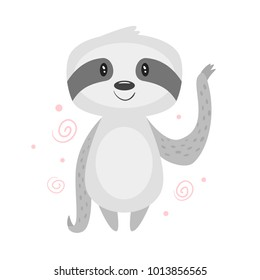 Vector cartoon style illustration of cute sloth, isolated on white background.