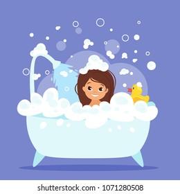 Vector cartoon style illustration of cute kid girl taking a bath full of soap foam. Yellow rubber duck in bathtub.