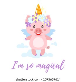 Vector cartoon style illustration of cute pink pig with unicorn magic horn and flower colorful wreath standing on the cloud. Isolated on white background.