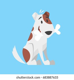 Vector cartoon style illustration of cute happy dog holding bone in his mouth.