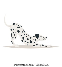 Vector cartoon style illustration of cute dalmatian dog, isolated on white background.