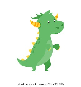 Vector cartoon style illustration of cute green dragon isolated on white background.