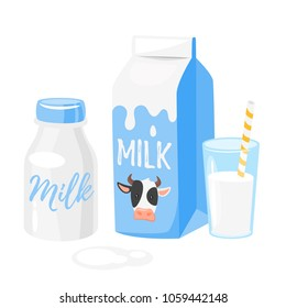 Vector cartoon style illustration of dairy products: milk packing and a glass of milk on white background. Icon for web.