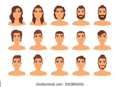 Vector Cartoon Style Illustration Of Different Man Hairstyles Stylish Modern Male Haircut Long Hair