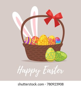 Vector  cartoon style illustration of Easter greeting card with festive basket and colorful painted eggs inside.