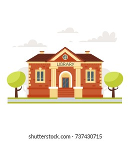 Vector cartoon style illustration of educational building old library, isolated on white background
