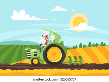 Vector cartoon style illustration of farmer working in farmed land on tractor.