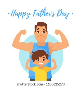 Vector cartoon style illustration Of Fathers Day greeting card template with athlete Caucasian father and son standing in front of it.