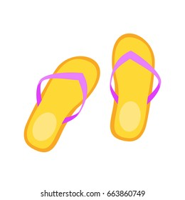 Vector cartoon style illustration of Flip-flops. Icon for web. Isolated on white background.